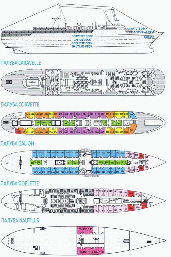 Схема лайнера Adriana:
