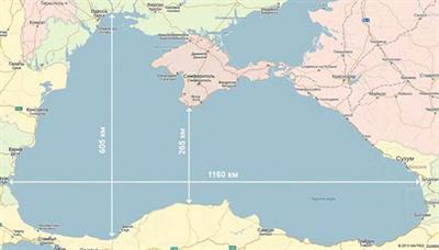 Размеры Черного моря