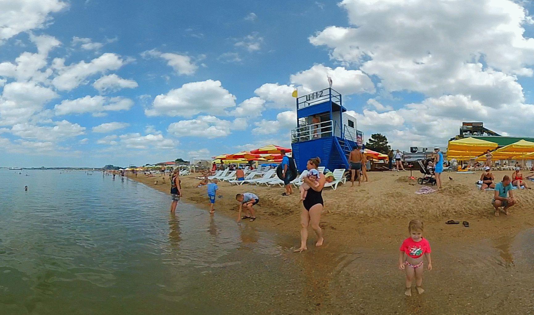Пляж курорта Анапа в июне