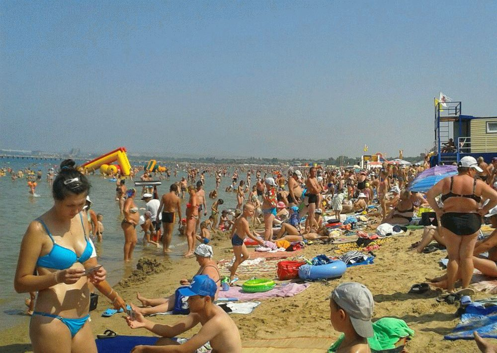 Пляж на курорте Анапа