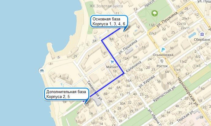 Карта расположения корпусов санатория БФО