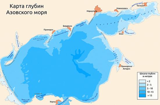 Глубина Азовского моря — Карта глубин
