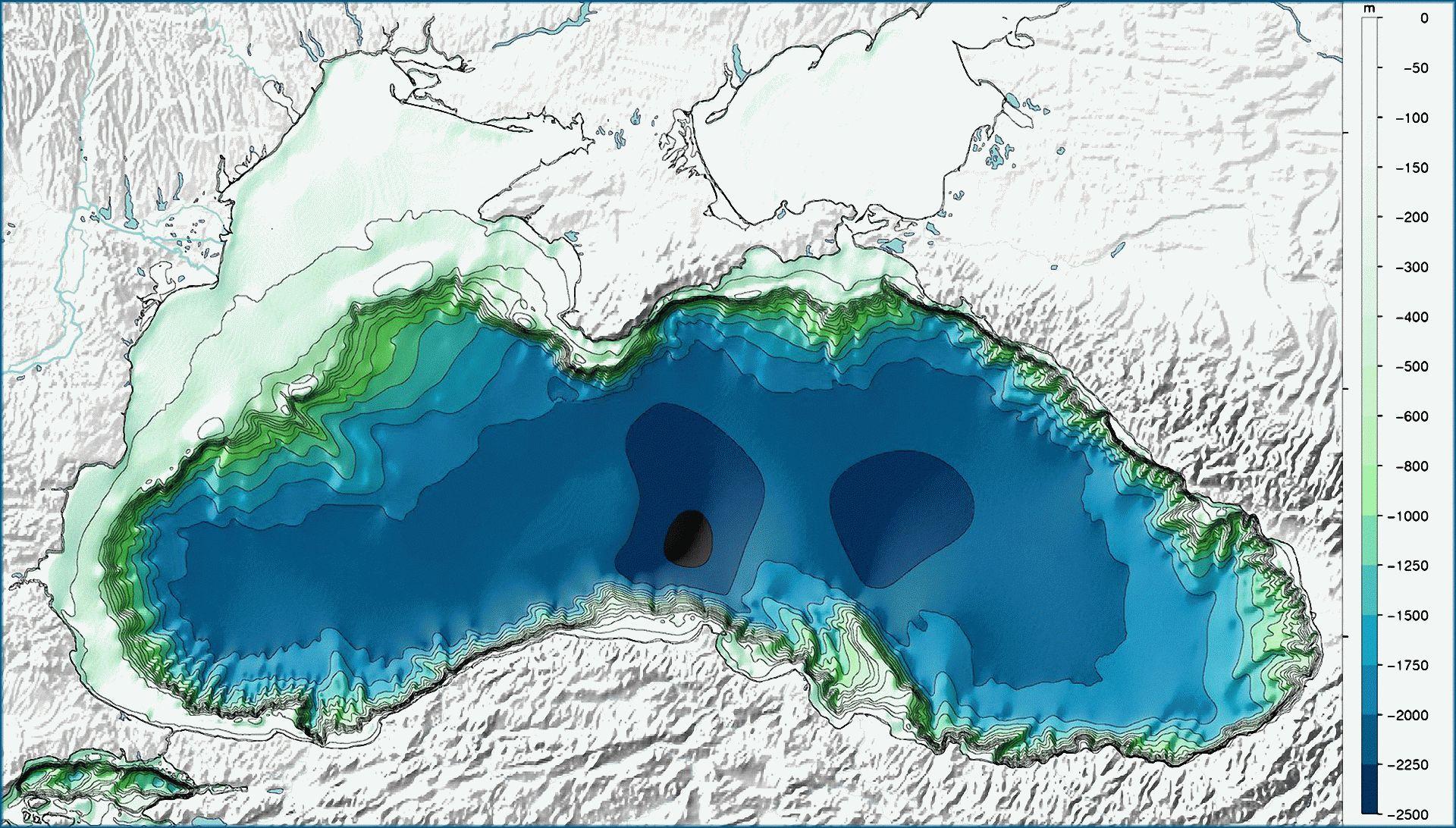 Глубина Черного моря