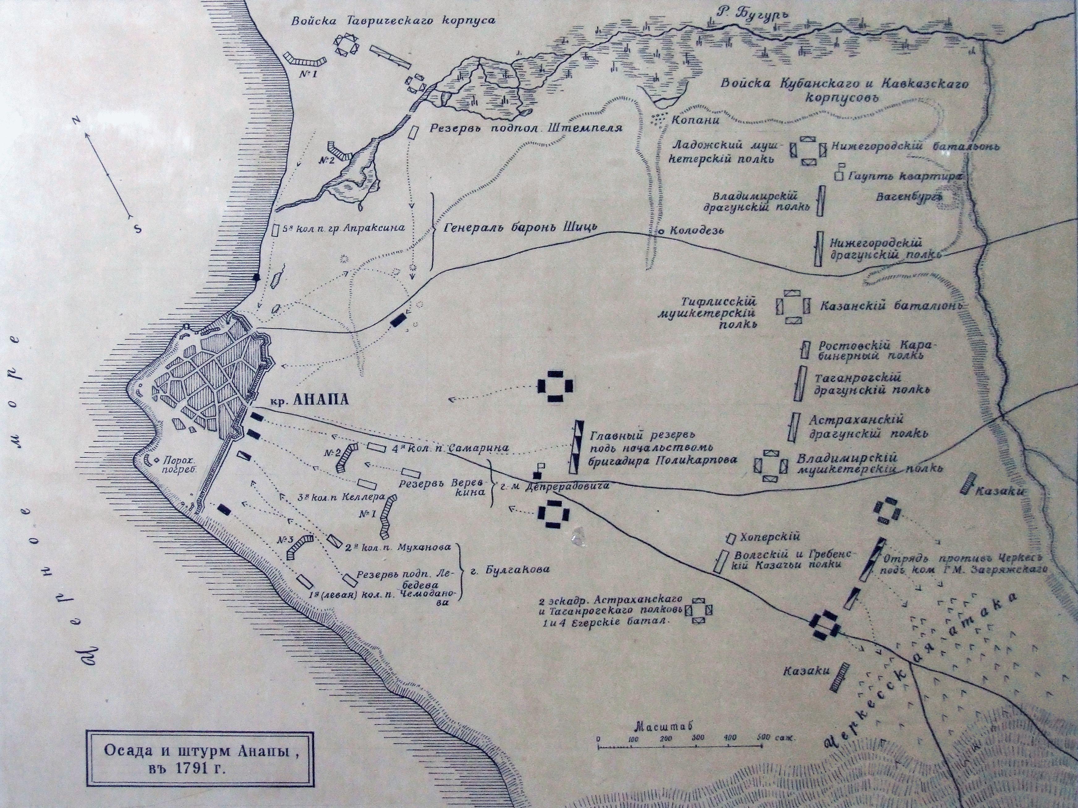 Карта - осада и штурм крепости Анапа