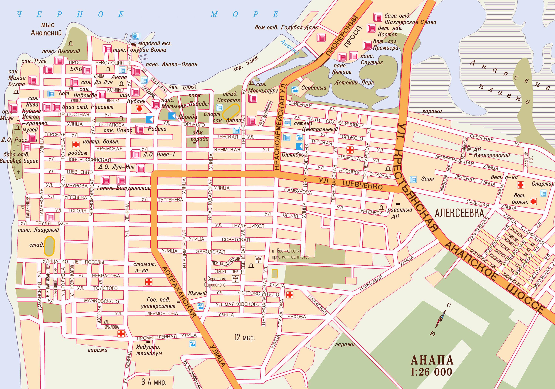 Карта схема г к анапа