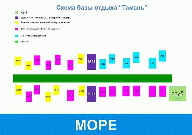 Схема базы отдыха Тамань